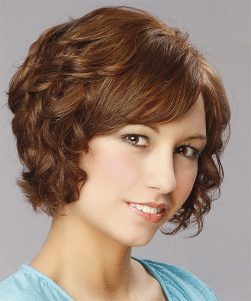 Short Curly Auburn Brunette Hairstyle With Side Swept Within Most Recently Released Short Loose Curls Hairstyles With Subtle Ashy Highlights (View 15 of 20)