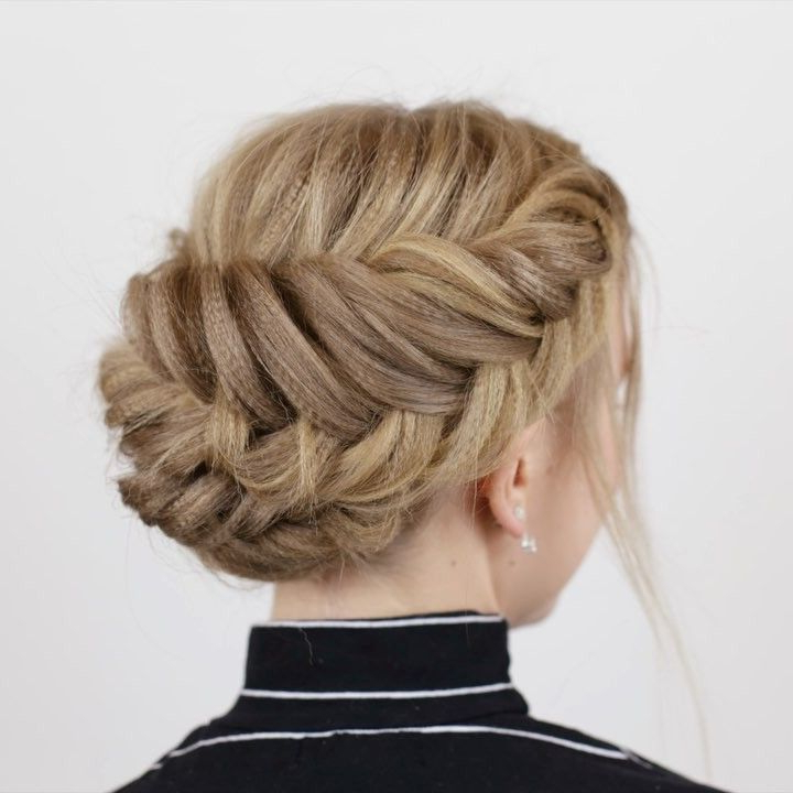 Short Hair Updo Inside Widely Used Double Braided Single Fishtail Braid Hairstyles (View 12 of 20)