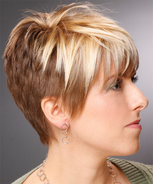 Short Straight Copper Blonde Hairstyle With Layered Bangs Intended For Well Known Curly Pixie Hairstyles With Light Blonde Highlights (View 10 of 20)