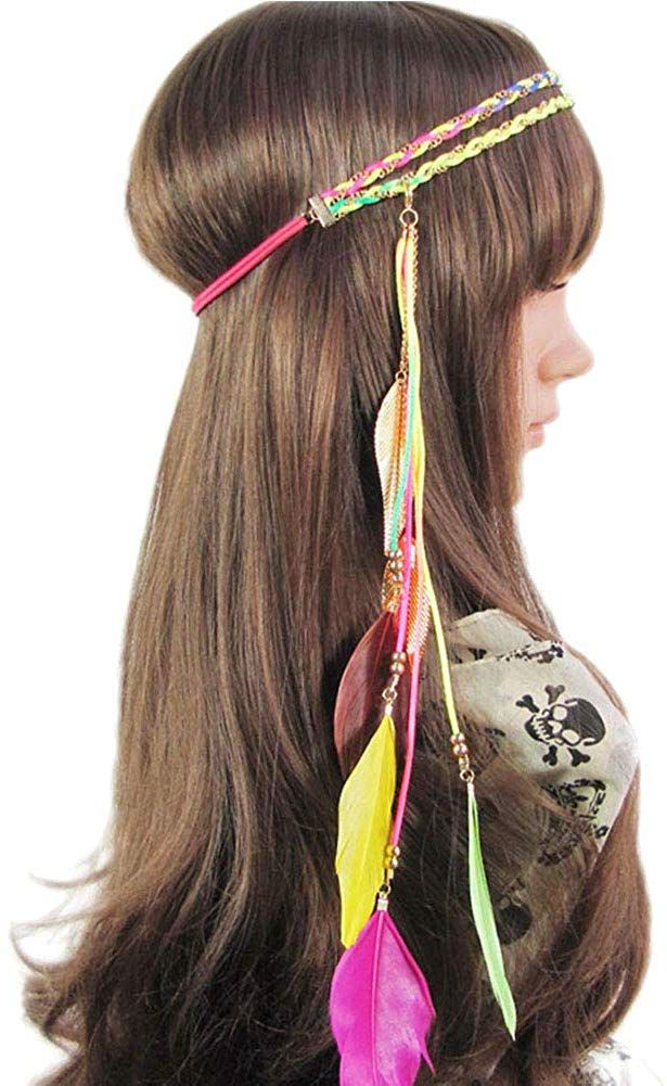 Song Qing Women Feather Leaf Tassels Braided Hippie In Latest Hippie Braid Headband Hairstyles (View 9 of 20)