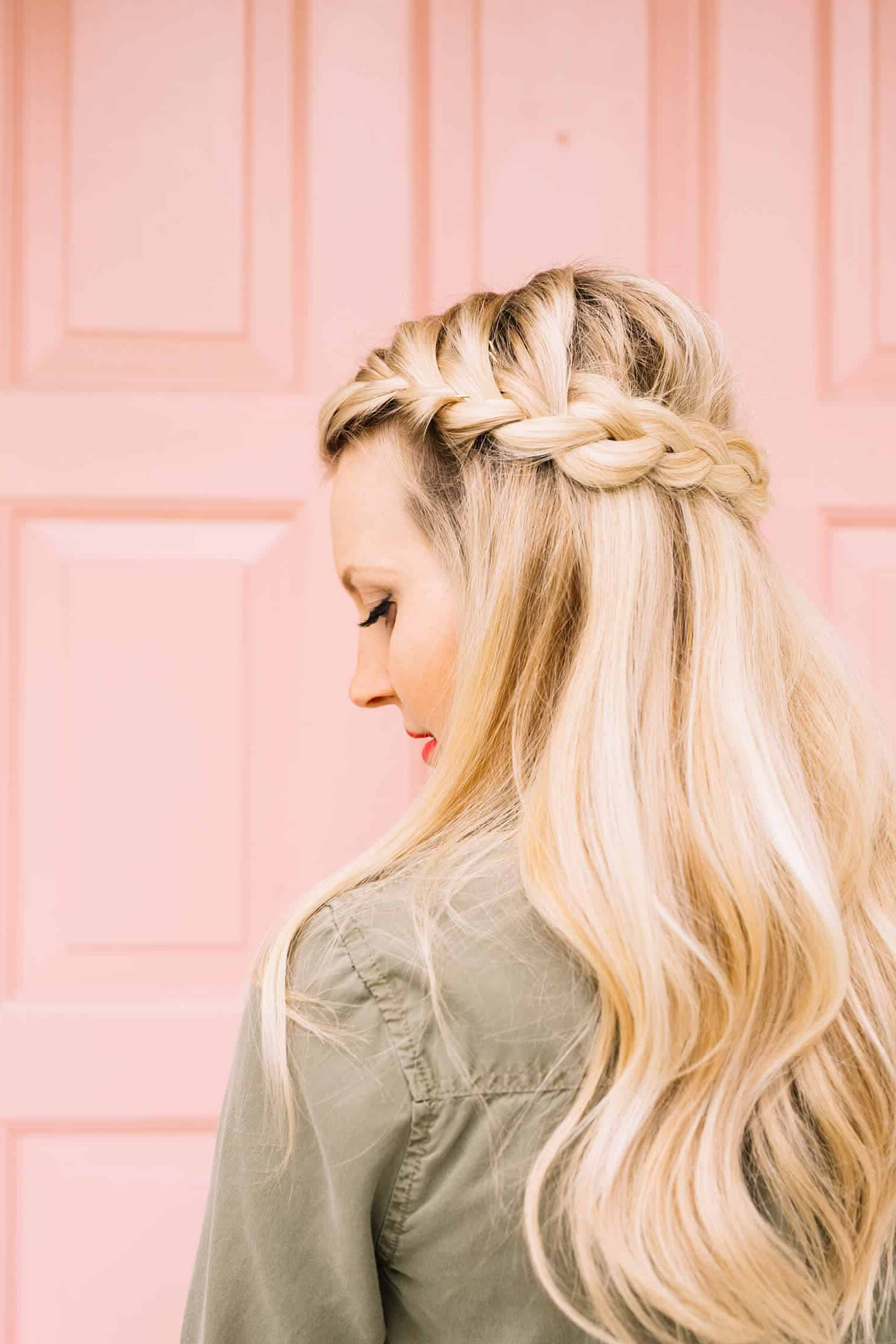 Trendy Bridal Crown Braid Hairstyles Intended For French Braid Half Crown – A Beautiful Mess (View 2 of 20)
