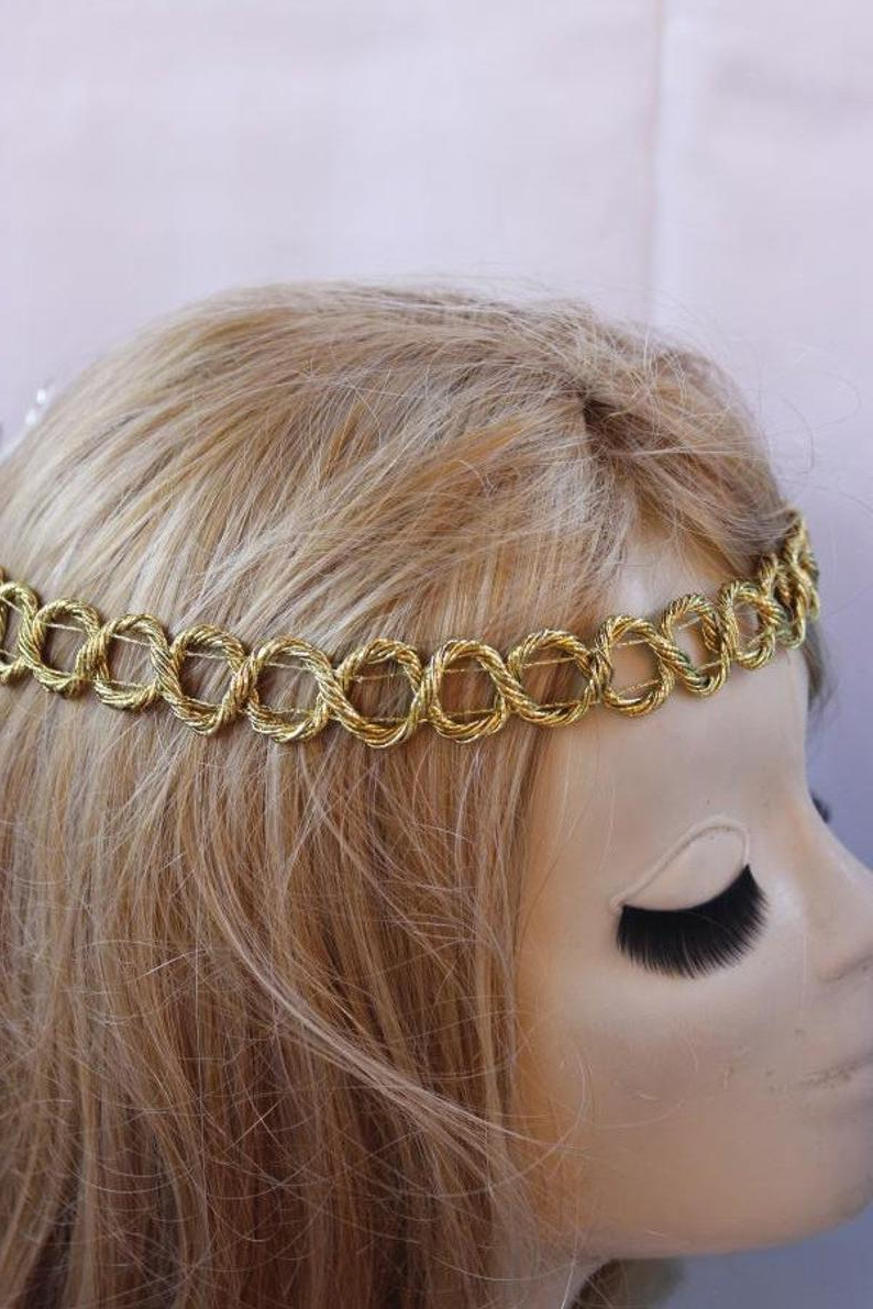 Trendy Hippie Braid Headband Hairstyles With Braided Hippie Headband Boho Hairband Golden Braided (View 4 of 20)