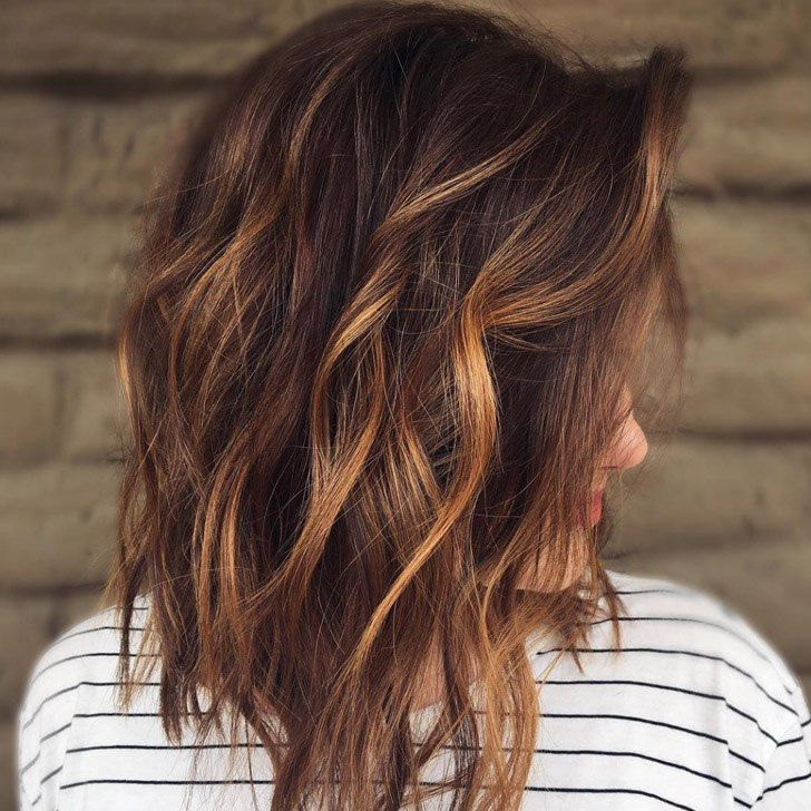 Trendy Tight Chocolate Curls Hairstyles With Caramel Touches With Regard To 20 Gorgeous Dark Brown Hair With Highlights Ideas (View 13 of 20)
