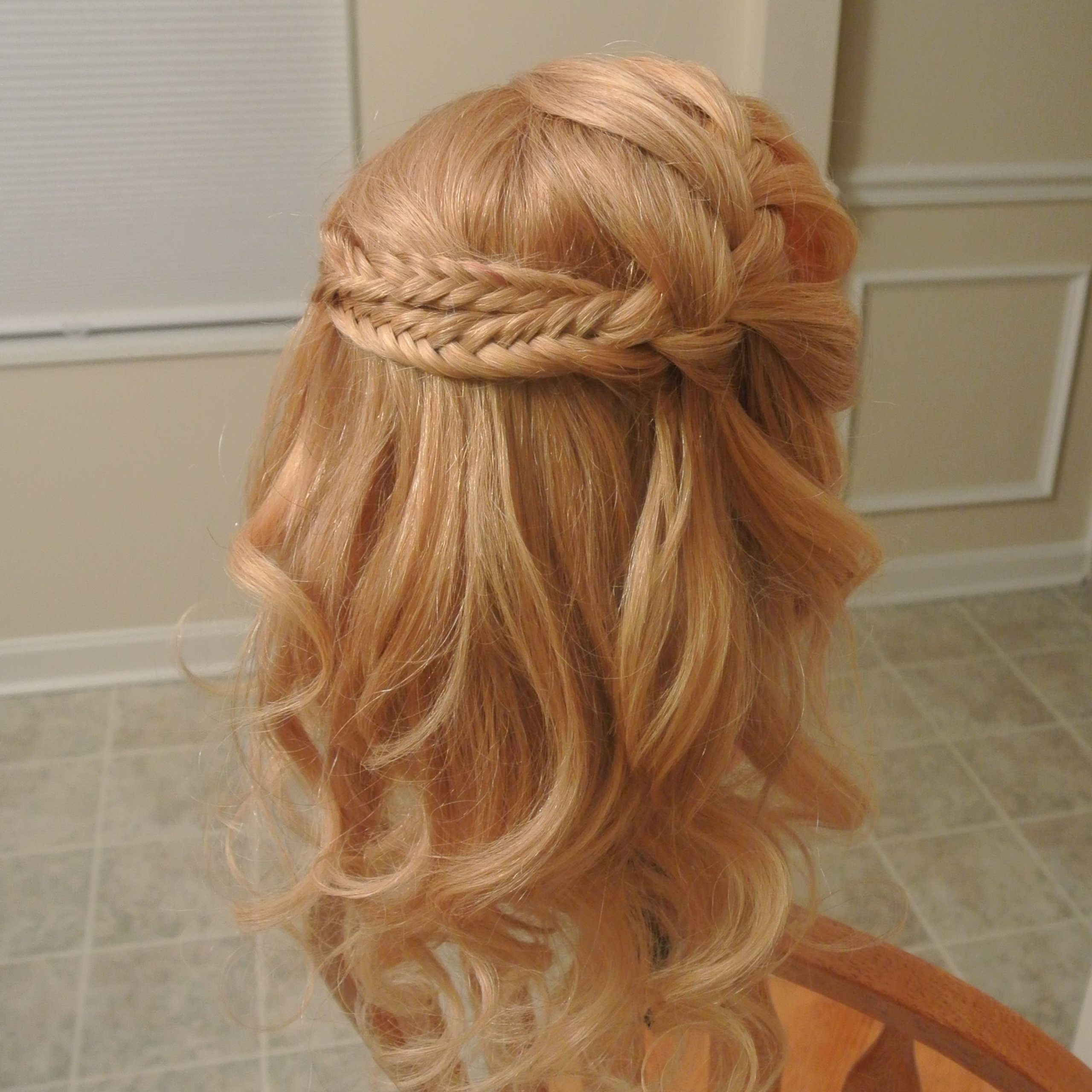 Waterfall Braid Into Fishtail Braids, Crown Of Braids Pertaining To Newest Bridal Crown Braid Hairstyles (View 5 of 20)