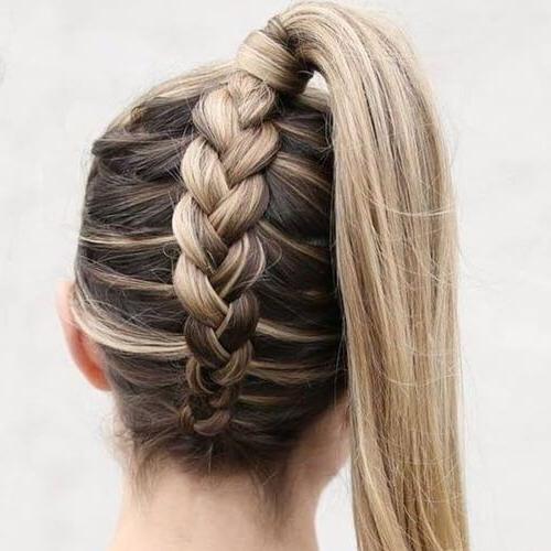 Well Known Five Dutch Braid Ponytail Hairstyles Regarding Hoher Pferdeschwanz Reverse Dutch Braid Frisuren Für (View 4 of 20)