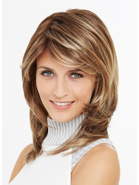 Well Known Middle Length Hairstyles With Highlights And Bangs Regarding Shoulder Length Straight Layered Synthetic Hair Wigs With (View 16 of 20)