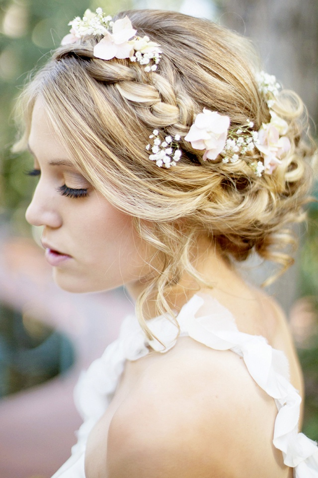 Well Liked Braided Crown Rose Hairstyles Regarding Braided Crown Hairstyle For Wedding Day With Flowers And (View 3 of 20)
