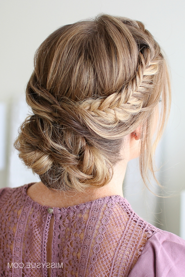 Well Liked Fishtail Updo Braid Hairstyles With Regard To Draped Fishtail Updo (View 9 of 20)
