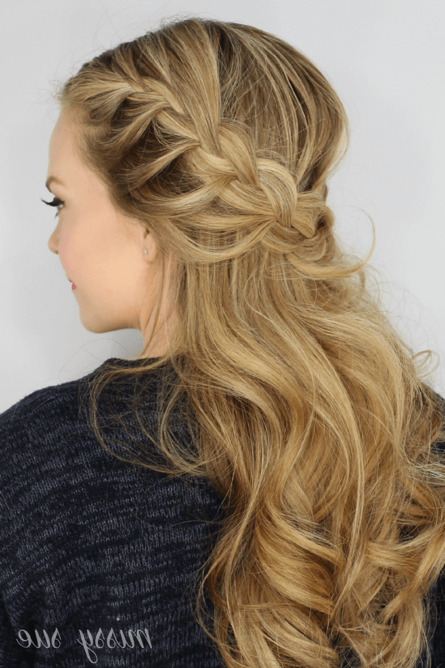 Well Liked Light Pink Semi Crown Braid Hairstyles With Half Up Lace Braids (View 6 of 20)