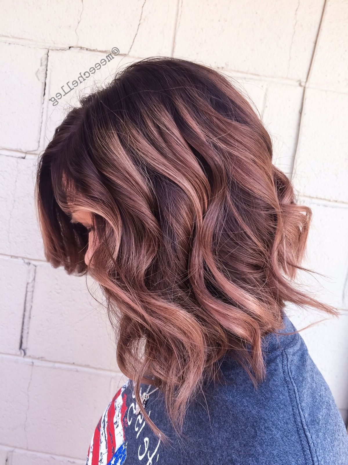 Well Liked Natural Curls Hairstyles With Caramel Highlights Within Lob, Caramel Highlights, Balayage, Cool Brunette, Medium (View 6 of 20)
