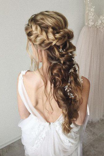 Widely Used Bridal Crown Braid Hairstyles Intended For 30 Wedding Hairstyles Half Up Half Down With Curls And Braid (View 13 of 20)