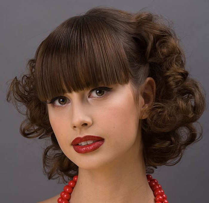 10 Beautiful Curly Hairstyles With Straight Bangs Intended For Latest Big, Natural Curls Hairstyles (View 15 of 20)