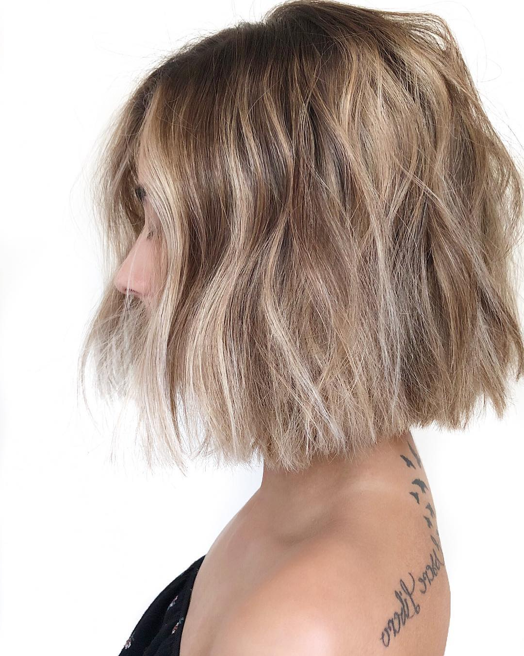 10 Trendy Messy Bob Hairstyles And Haircuts, 2020 Female Intended For Blunt Cut Blonde Balayage Bob Hairstyles (View 18 of 20)