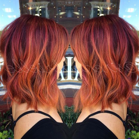 20 Best Red Ombre Hair Ideas 2021: Cool Shades, Highlights Inside Pixie Hairstyles With Red And Blonde Balayage (View 8 of 20)