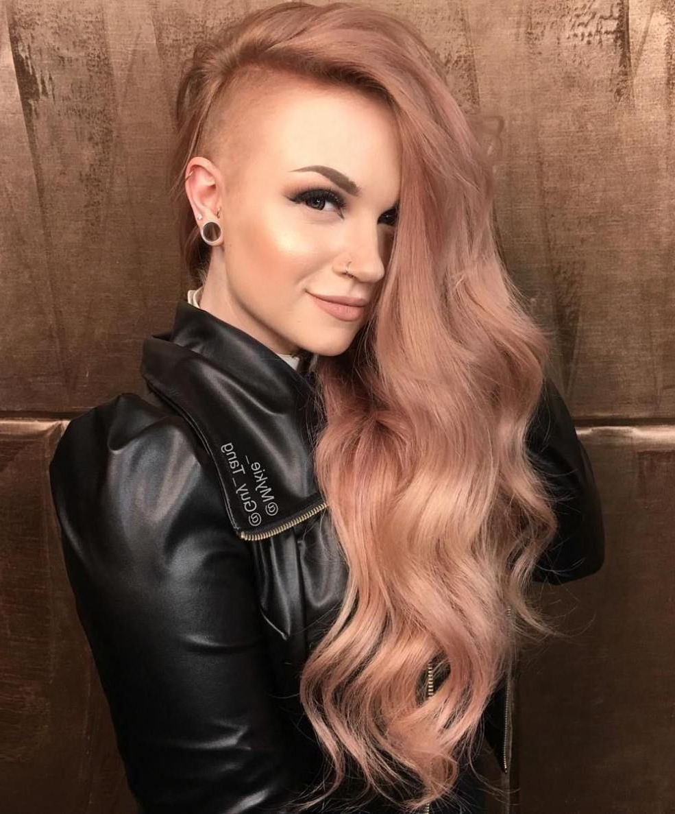 20 Cute Shaved Hairstyles For Women   Half Shaved Head In Half Bob Half Pixie Hairstyles With Cool Blonde Balayage (View 2 of 20)
