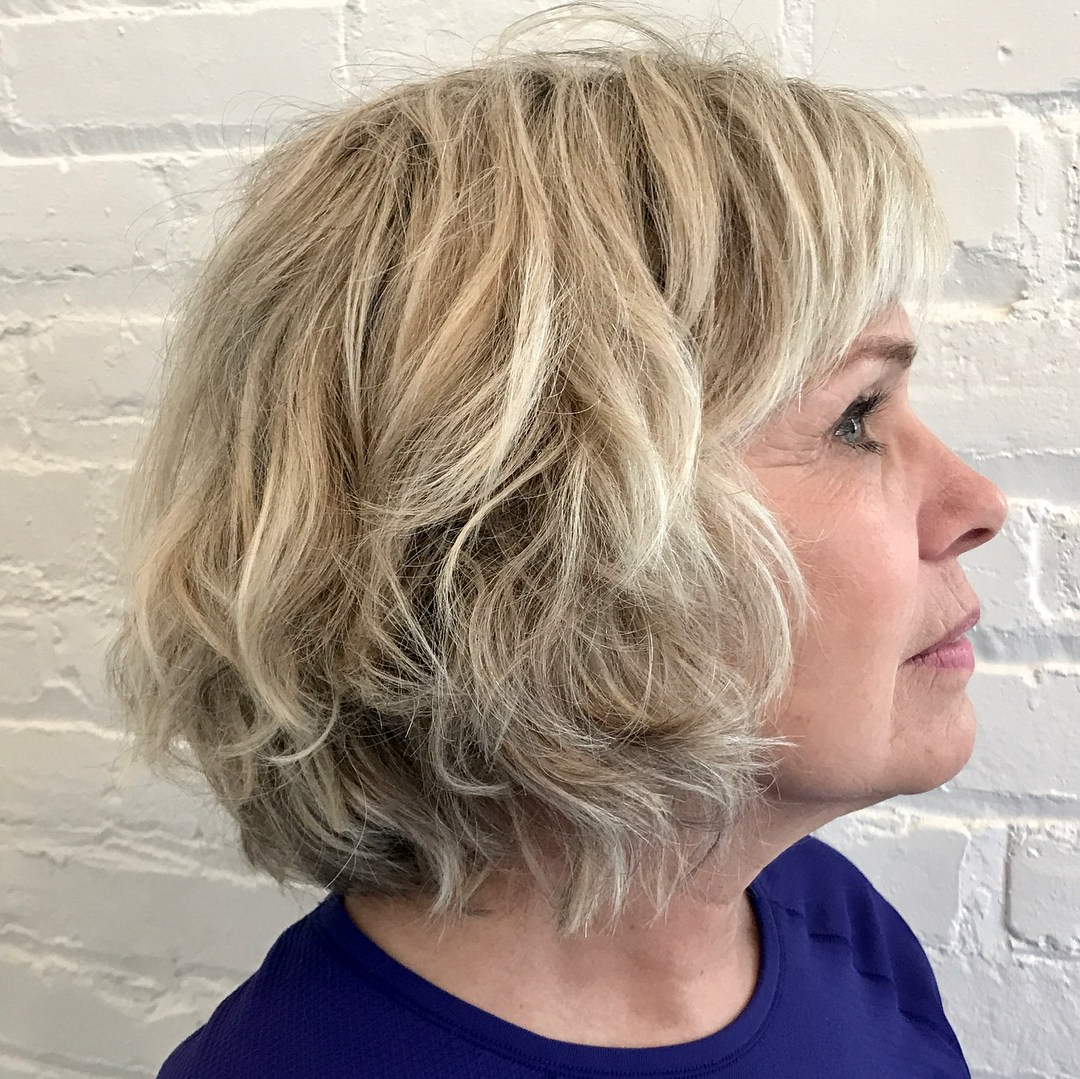 Featured Photo of White Blonde Curly Layered Bob Hairstyles