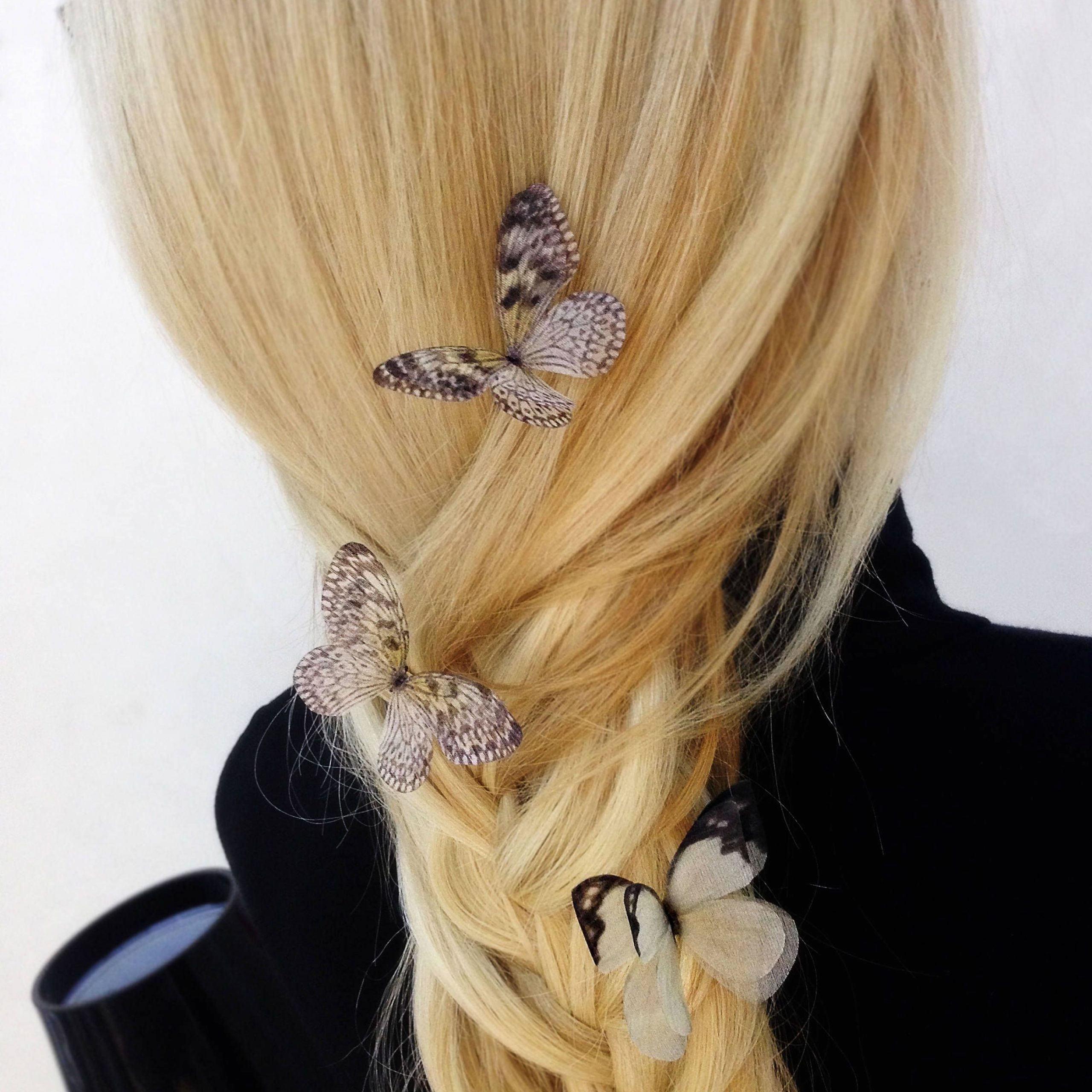 2018 Butterfly Clips Hairstyles Inside Set Of 3 Butterfly Hair Clips With Silk Wings For Winter (View 18 of 20)