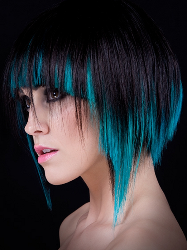 2018 Short Hairstyles With Blue Highlights And Undercut Throughout Black Hair With Blue Highlights ~ More About Hairstyles (View 3 of 20)