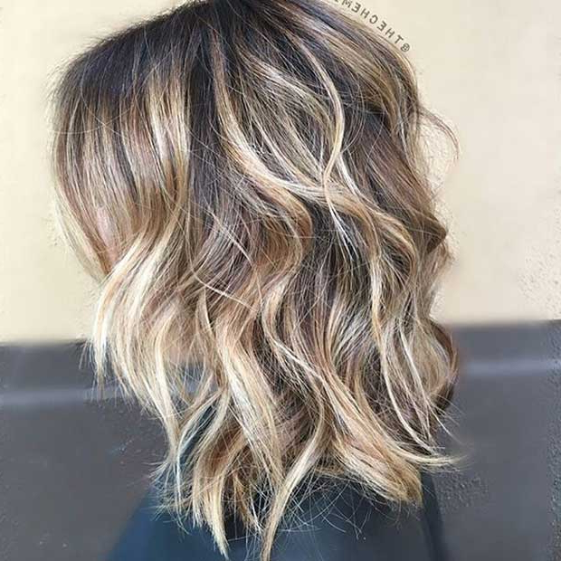 27 Pretty Lob Haircut Ideas You Should Copy In 2017   Stayglam Throughout Shaggy Bob Hairstyles With Blonde Balayage (View 18 of 20)
