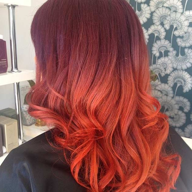 31 Best Red Ombre Hair Color Ideas   Stayglam With Regard To Dimensional Dark Roots To Red Ends Balayage Hairstyles (View 10 of 20)