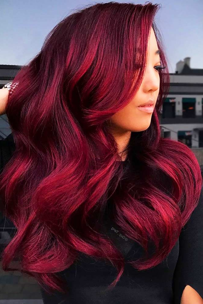 40 Hot Balayage Looks For Your Hair Color   Burgundy Hair Pertaining To Burgundy Balayage On Dark Hairstyles (View 2 of 20)