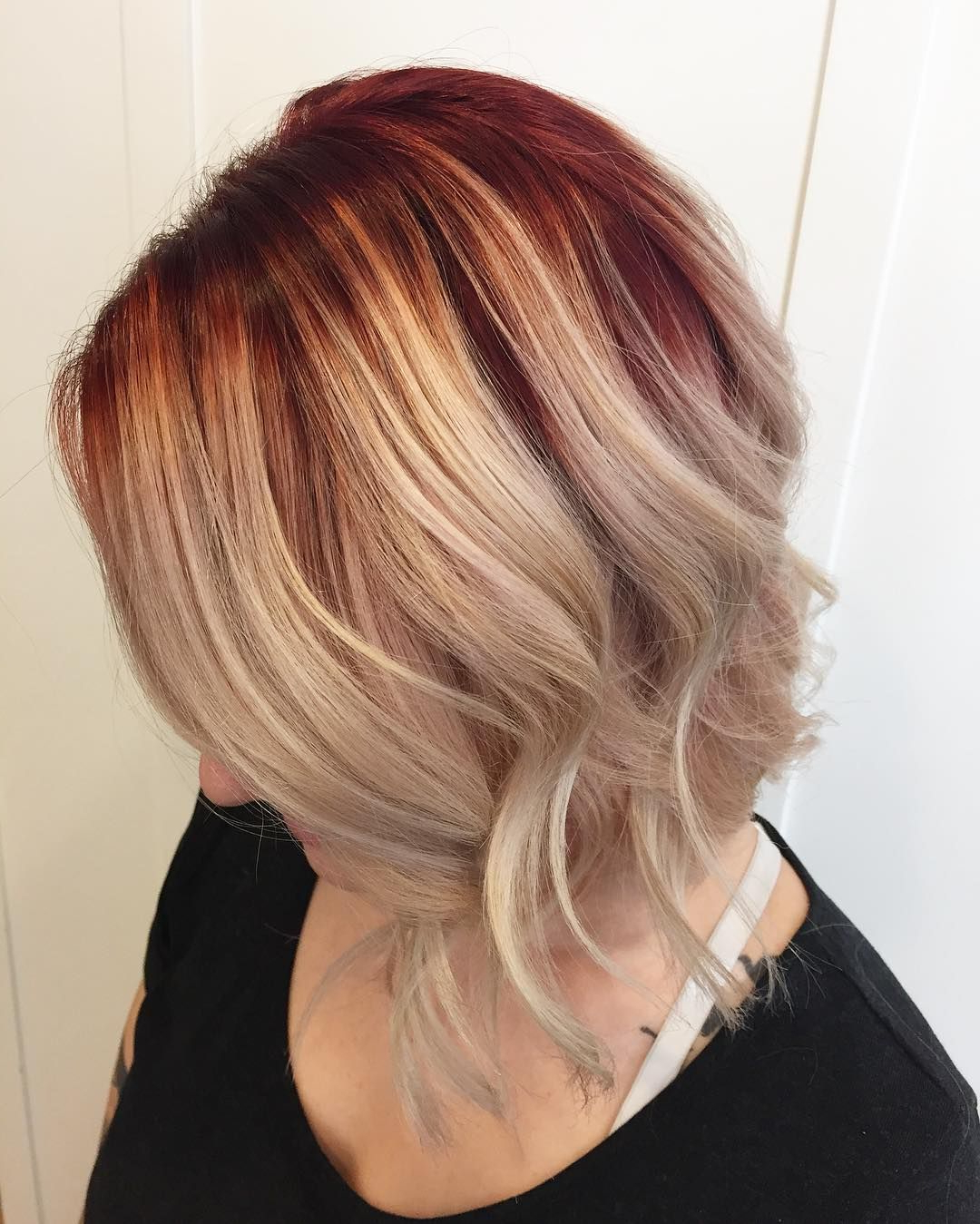 45 Inspirational Red And Blonde Hair — Trend Ideas For Pertaining To Dimensional Dark Roots To Red Ends Balayage Hairstyles (View 9 of 20)