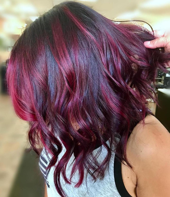 45 Shades Of Burgundy Hair: Dark Burgundy, Maroon Inside Bright Red Balayage On Short Hairstyles (View 4 of 20)