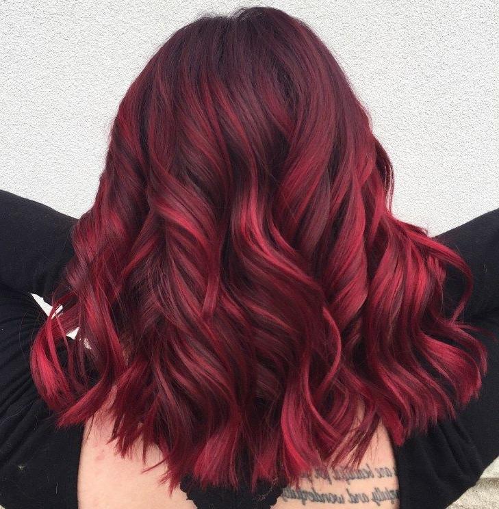 45 Shades Of Burgundy Hair: Dark Burgundy, Maroon With Regard To Burgundy Balayage On Dark Hairstyles (View 17 of 20)
