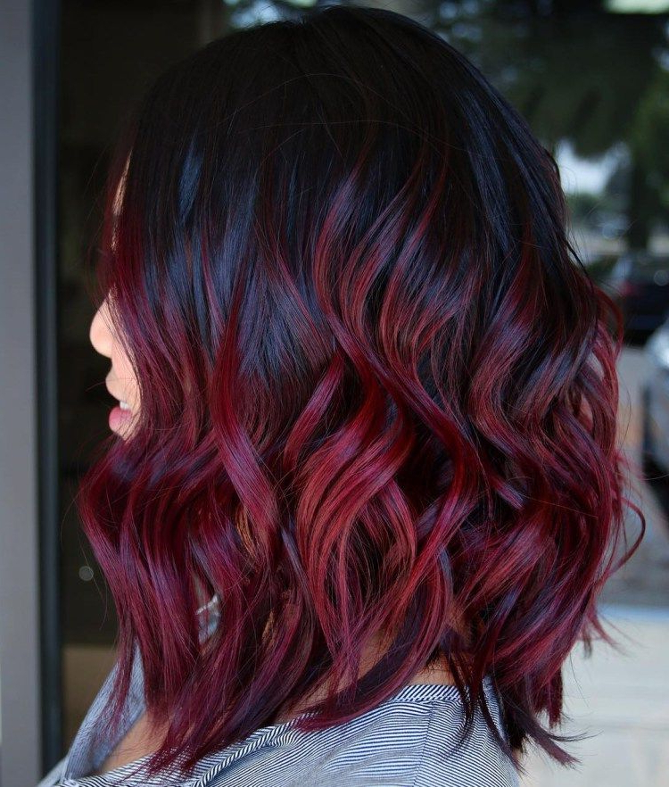 45 Shades Of Burgundy Hair: Dark Burgundy, Maroon Within Bright Red Balayage On Short Hairstyles (View 12 of 20)
