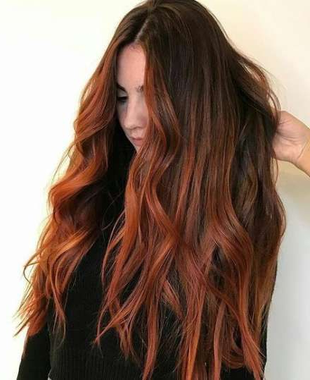 48+ Ideas Nails Short Red Dark   Roots Hair, Auburn Hair For Dimensional Dark Roots To Red Ends Balayage Hairstyles (View 7 of 20)