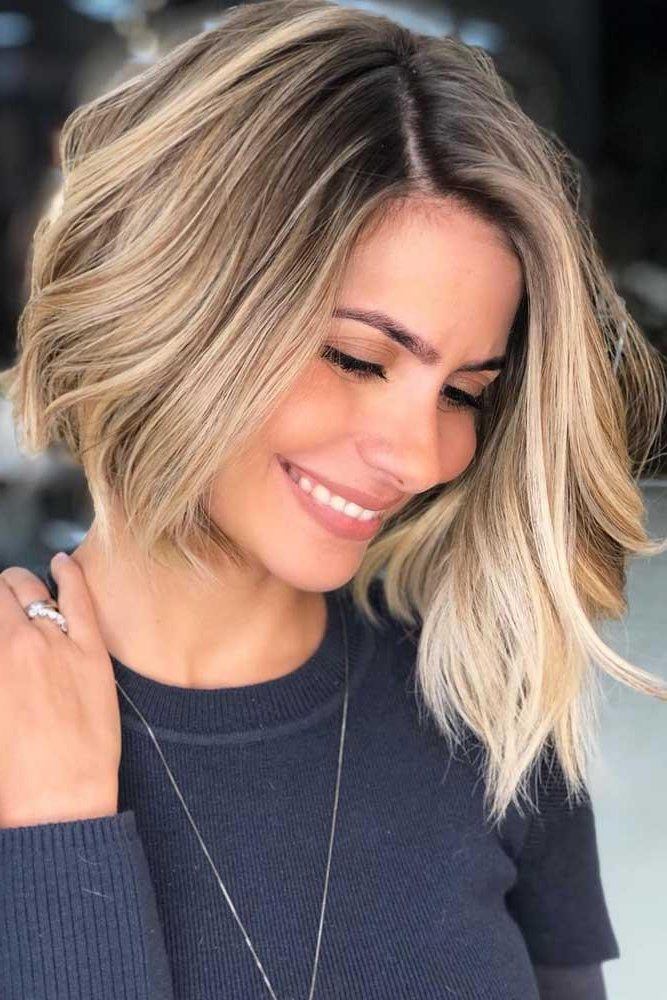 50 Bold And Daring Asymmetrical Bob Haircuts Throughout Shaggy Bob Hairstyles With Blonde Balayage (View 17 of 20)