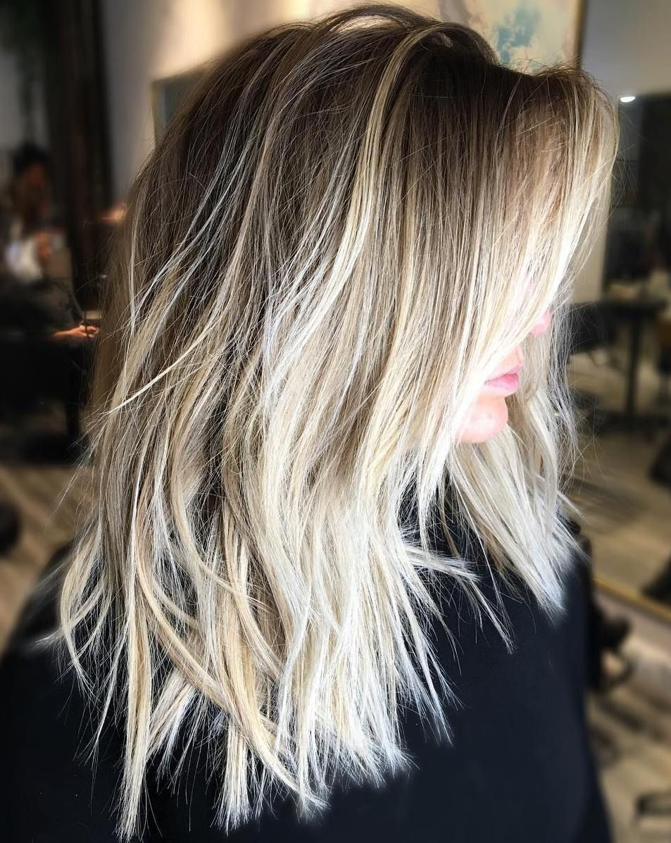 50 Cute And Effortless Long Layered Haircuts With Bangs Within Shaggy Bob Hairstyles With Blonde Balayage (View 15 of 20)