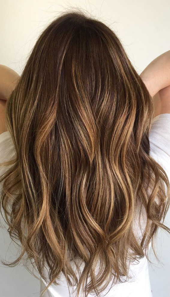54 Beautiful Ways To Rock Brown Hair This Season : Cute Within Beachy Waves Hairstyles With Balayage Ombre (View 13 of 20)