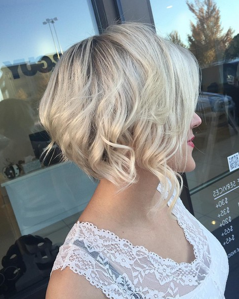 6 Best Curly & Wavy Stacked Haircuts For Short Hair 2021 Throughout White Blonde Curly Layered Bob Hairstyles (View 9 of 20)