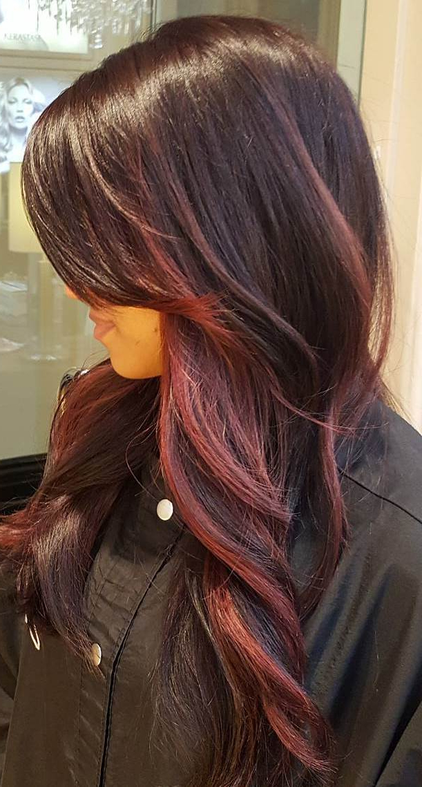 60 Balayage Hair Color Ideas With Blonde, Brown, Caramel Pertaining To Burgundy Balayage On Dark Hairstyles (View 15 of 20)
