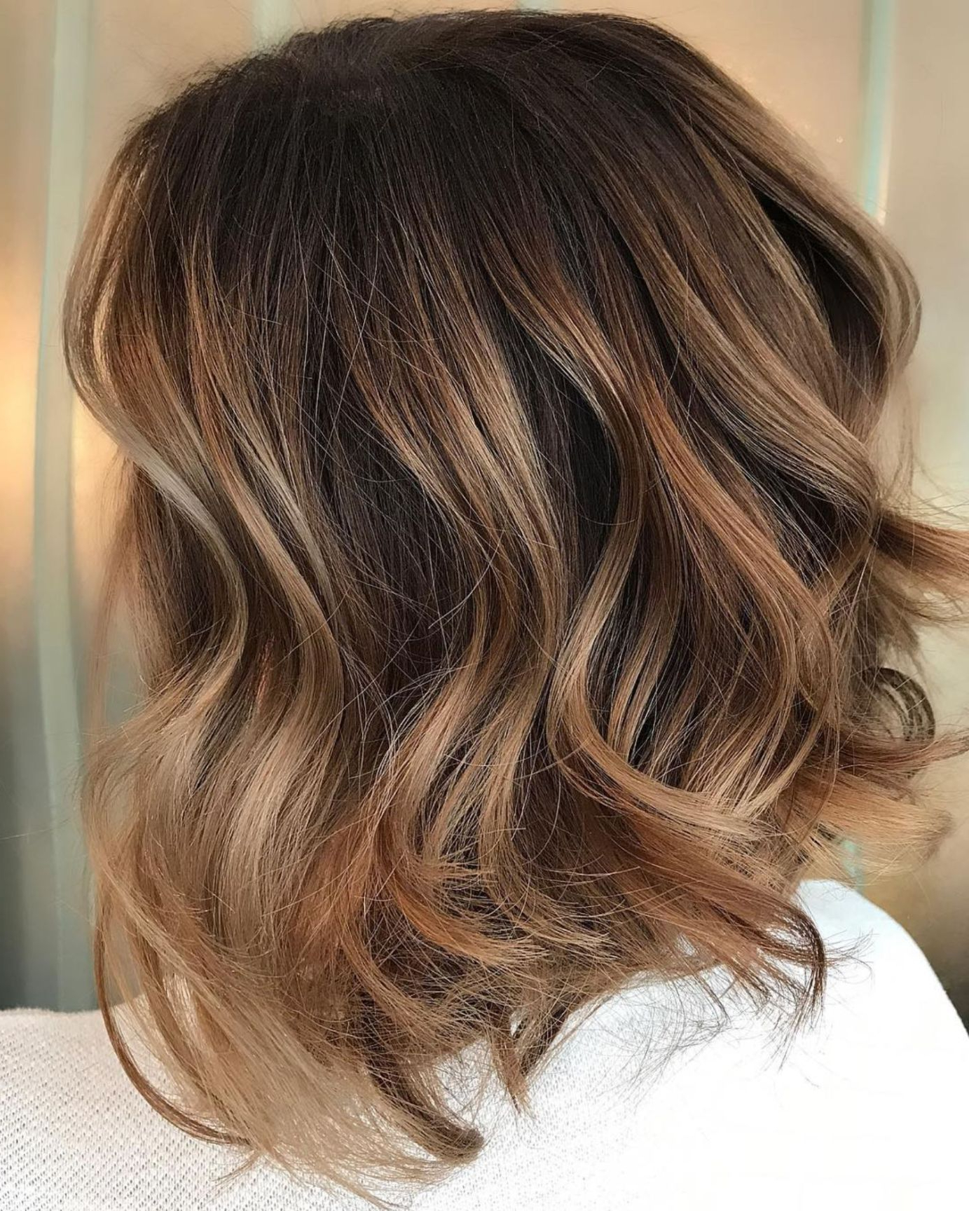 60 Looks With Caramel Highlights On Brown And Dark Brown For Caramel Blonde Balayage On Inverted Lob Hairstyles (View 16 of 20)