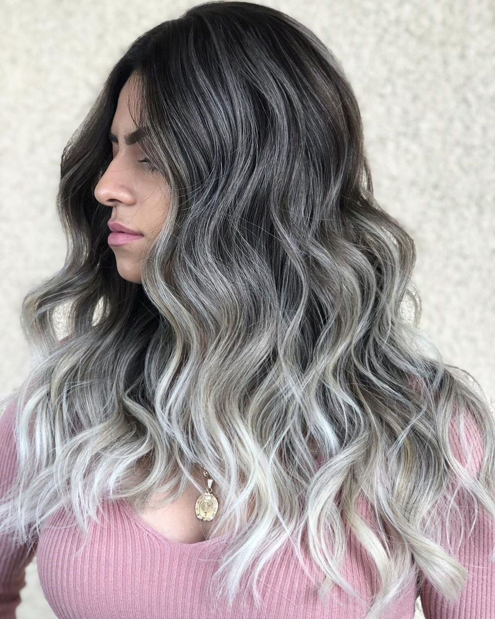60 Shades Of Grey: Silver And White Highlights For Eternal Inside Dimensional Dark Roots To Red Ends Balayage Hairstyles (View 16 of 20)
