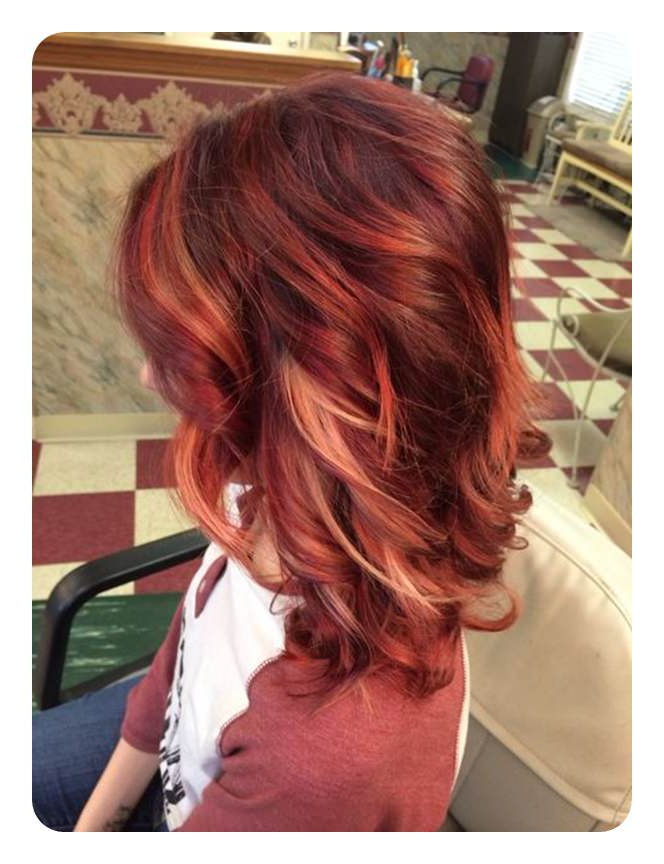 80 Stunning Red Hair With Highlights You Can Try Now Throughout Favorite Fiery Red 70s' Inspired Face Framing Layers Hairstyles (View 16 of 20)