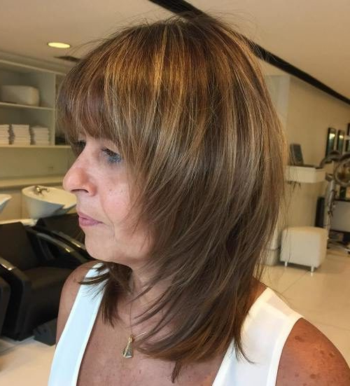 Age Defying Hairstyles With Bangs For Older Women | 2019 Inside Shaggy Bob Hairstyles With Face Framing Highlights (View 17 of 20)