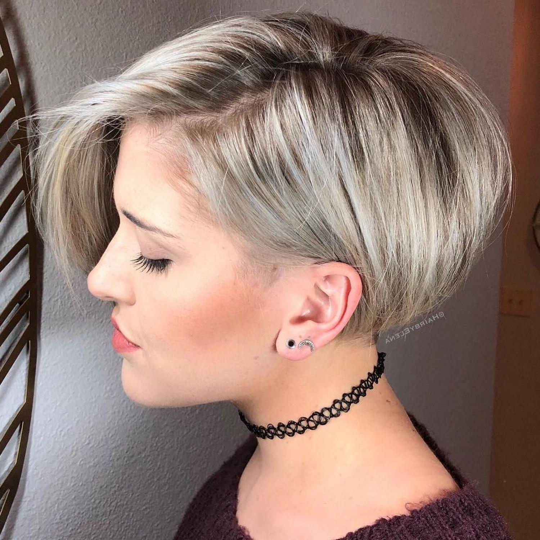 Ash Blonde Asymmetric Bob | Long Pixie Hairstyles, Short Regarding Ash Blonde Balayage For Short Stacked Bob Hairstyles (Gallery 18 of 20)