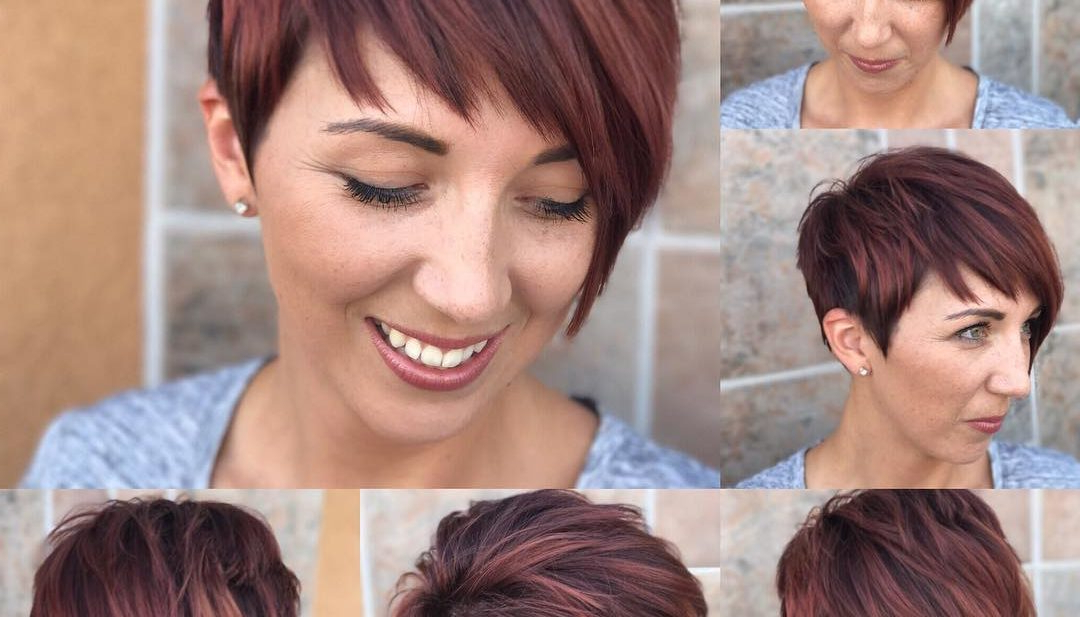 Best And Newest Asymmetrical Pixie Hairstyles With Pops Of Color Regarding Shaggy Asymmetrical Pixie With Asymmetrical Bangs On (View 8 of 20)