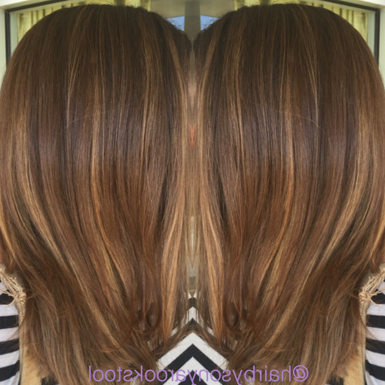 Caramel Blonde Balayage With Her Natural Brown Base Color Pertaining To Caramel Blonde Balayage On Inverted Lob Hairstyles (View 7 of 20)