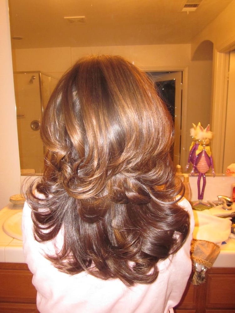 Caramel Highlights On Medium Brown Hair With Layered Cut With Regard To Short Brown Hairstyles With Subtle Highlights (View 8 of 20)