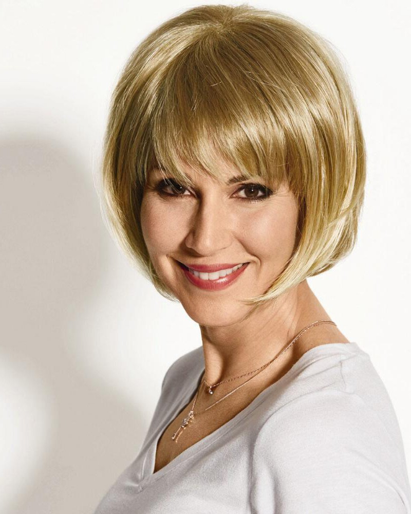 Chic Chin Length Bob Wigs With Angled Layers And Piecey Bangs Inside Famous Chin Length Bangs And Face Framing Layers Hairstyles (View 4 of 20)