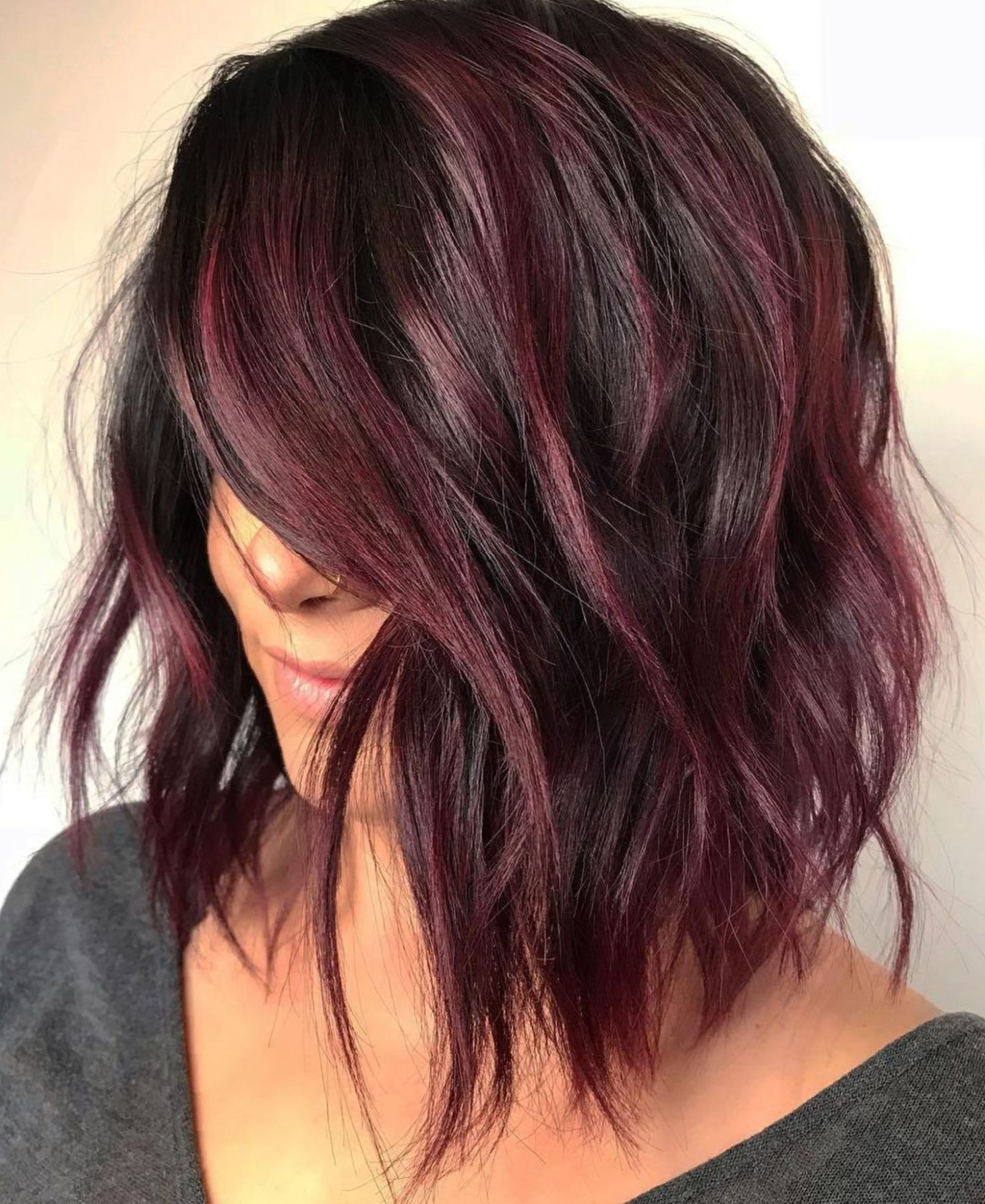 Choppy Burgundy Balayage Bob   Curly Hair Styles Naturally Intended For Burgundy Balayage On Dark Hairstyles (View 5 of 20)