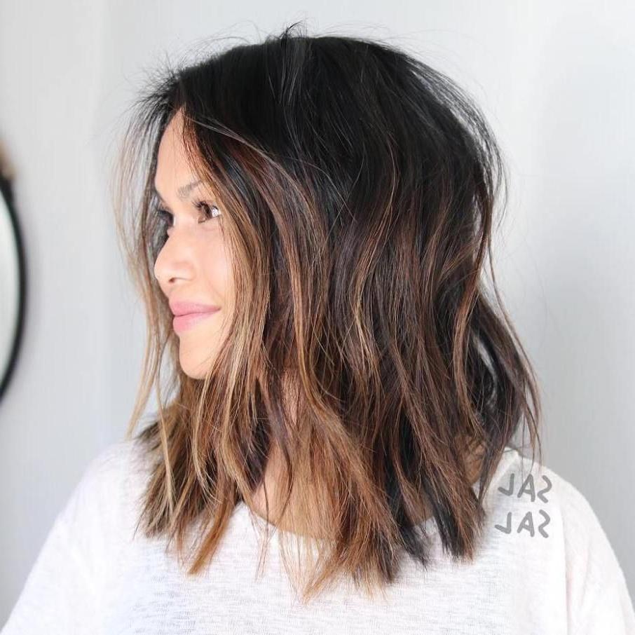 Choppy Caramel Balayage Lob | Hair Styles, Balayage Hair Regarding Caramel Blonde Balayage On Inverted Lob Hairstyles (View 5 of 20)