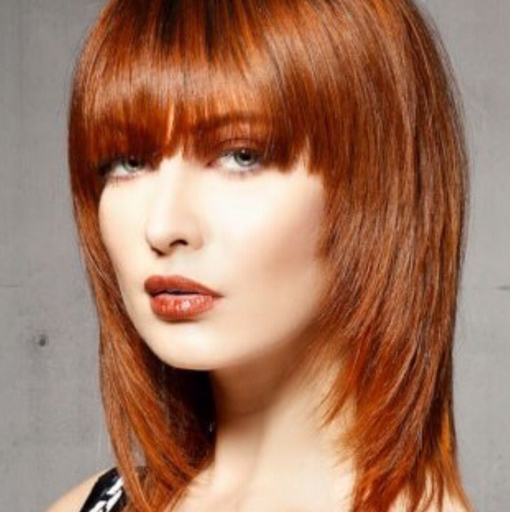 Colour Copper Red~ Shoulder Length Layered Hair Cut Fringe Throughout Preferred Chin Length Bangs And Face Framing Layers Hairstyles (View 12 of 20)