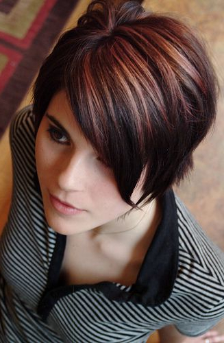 Cranberry And Blonde Over Dark Brown   Short Dark Hair Within Short Hairstyles With Delicious Brown Coloring (View 8 of 20)