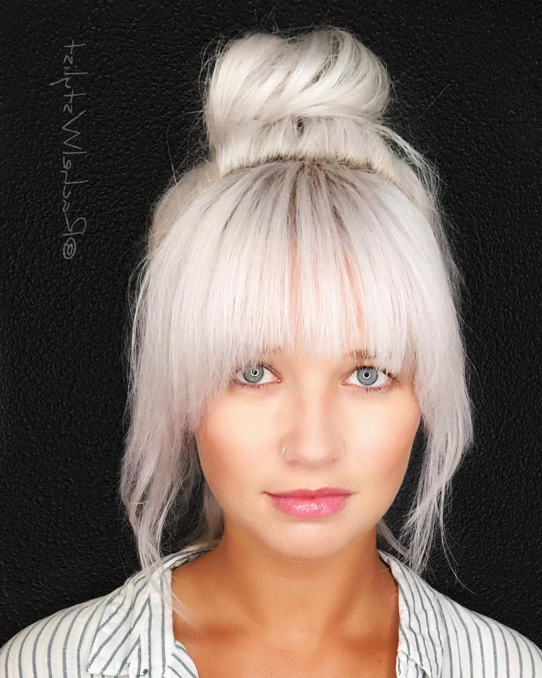 Current Lob Hairstyles With A Face Framing Fringe With Large Messy Top Bun With Full Face Framing Fringe And (View 7 of 20)