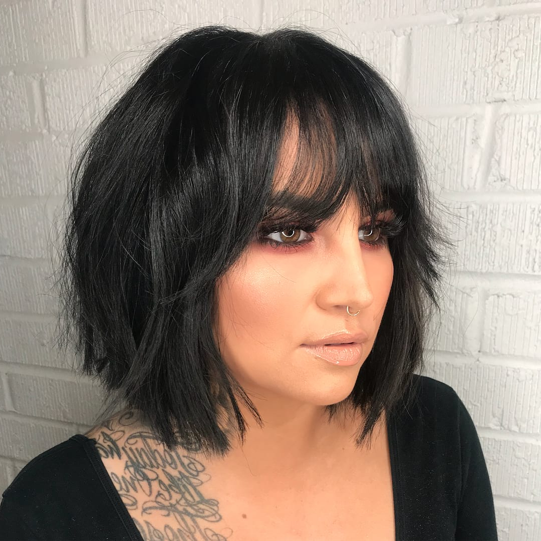Current Short Messy Bangs Hairstyles Inside Layered Modern French Bob With Face Framing Fringe Bangs (View 6 of 20)